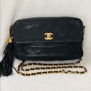 CHANEL Lambskin Quilted Camera Tassel 24k Flap Bag
